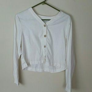Lord & Taylor linen crop top button down shirt 2p